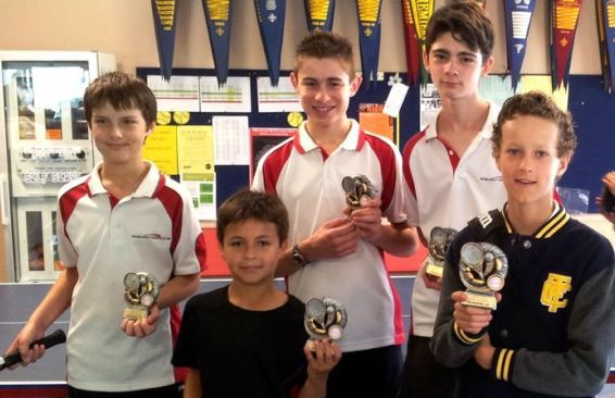 Spring 2014 Section 22 runners up, Jack, Dylan, Daniel, Kyle and Noah. At Research Tennis Club 2014.