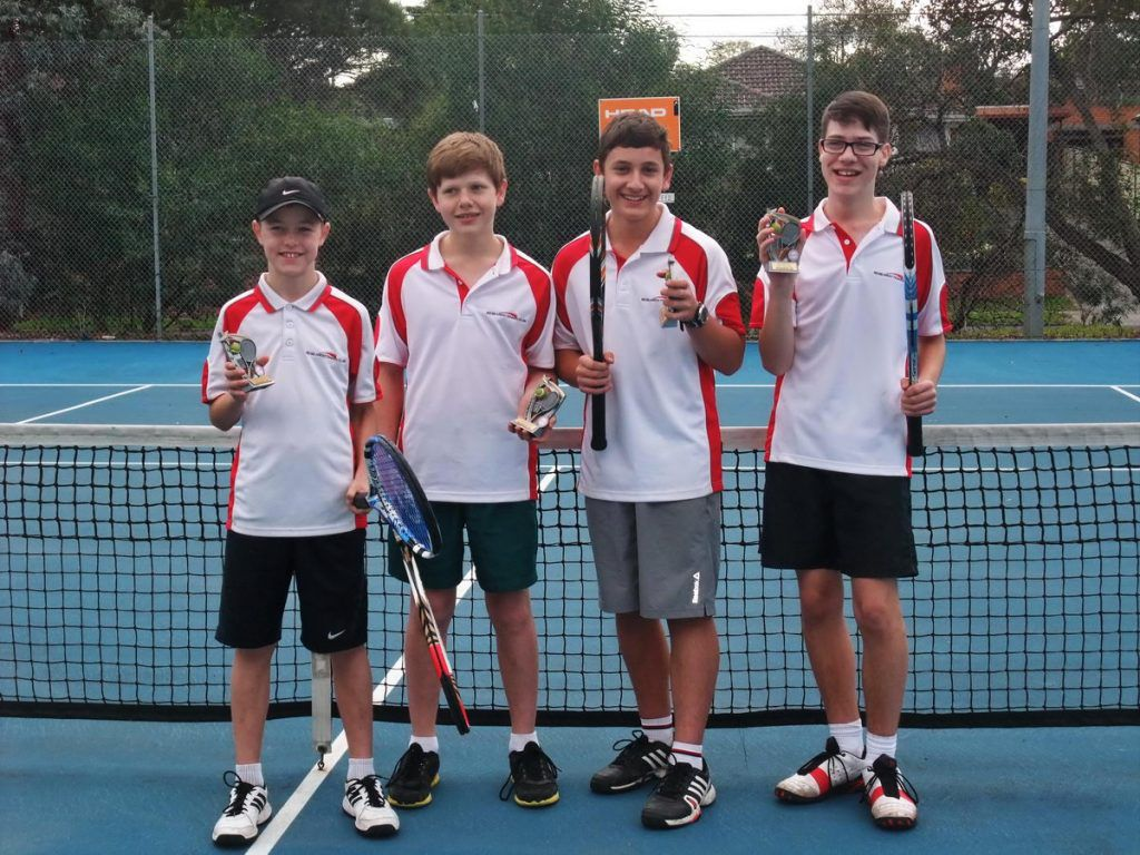 2014 NEJTA Autumn Section 13 Runners Up-Charlie Vinen, Connor Russell, Jayden Hansen and Boden Wallker. At Research Tennis Club 2014.