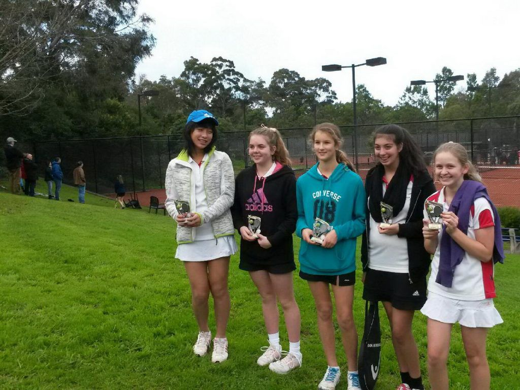 2014 NEJTA Autumn Section 9 Runners Up L-R Natasha, Zoe, Scarlett, Courtney and Taya. At Research Tennis Club 2014.